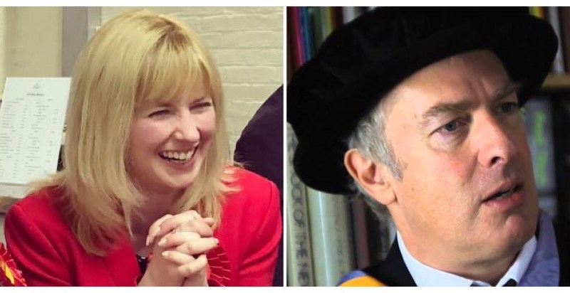 Rosie Duffield MP and Guardian cartoonist Martin Rowson