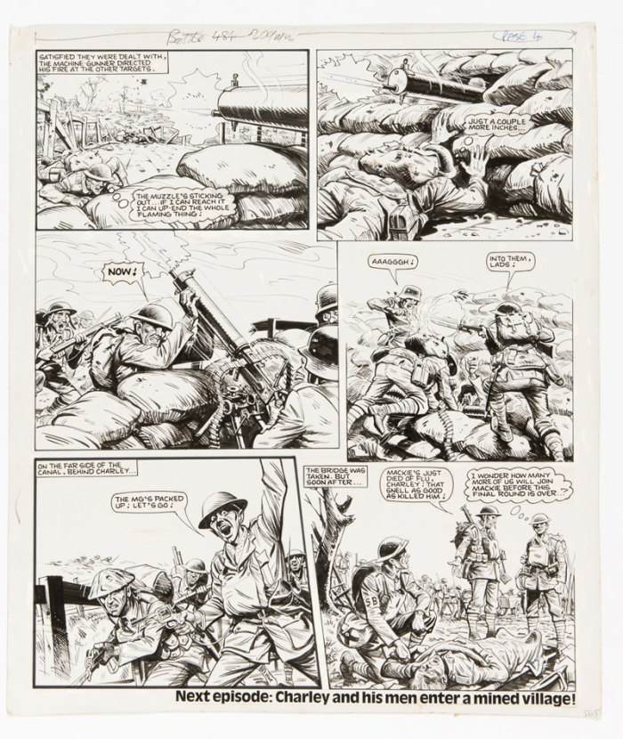 "Charley's War original artwork (1984) by Joe Colquhoun for Battle 484. Charley stalks and captures a German machine gun post and his men take the bridge in the fourth page of this ""Charley's War"" episode - but some are dying from influenza."