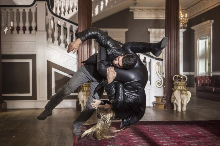 """Mike Fallon (Scott Adkins) and """"Jane the Ripper"""" (Amy Johnston) tussle in the big screen adaptation of Pat Mills and Tony Skinner's Accident Man"""