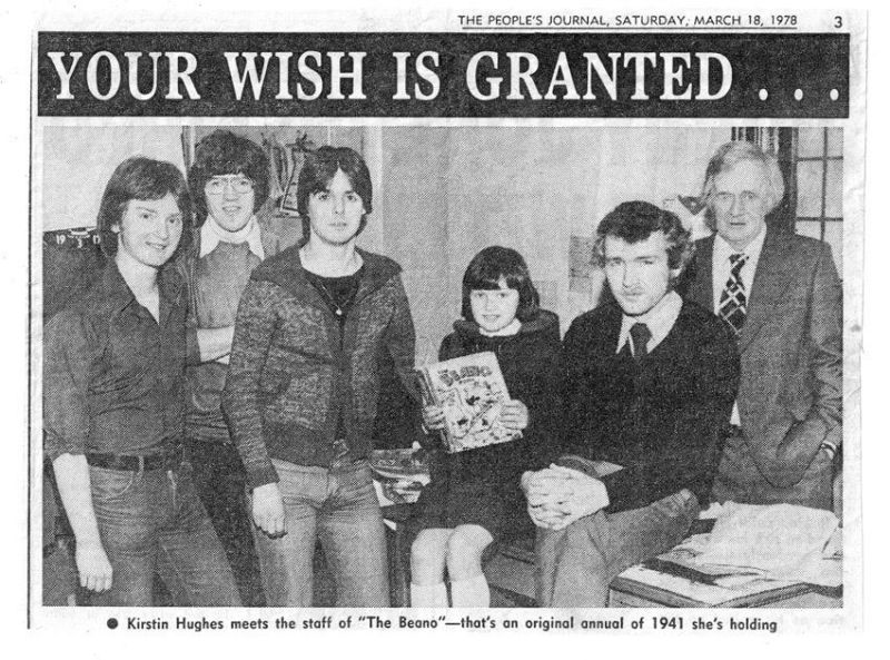The Beano staff in 1978. From left to right, Steve Bright, Alan Digby (later a The Beano editor), Andy Sturrock, Kirsten (we wonder what she's doing now - probably anything that doesn't involve comics!), Dave Donaldson (former Nutty editor and Managing Editor) and Harry Cramond.