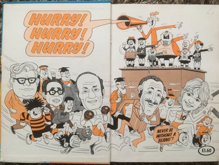 Bruce with fellow stars, as featured in the end papers of the 1982 Beano annual. © DC Thomson