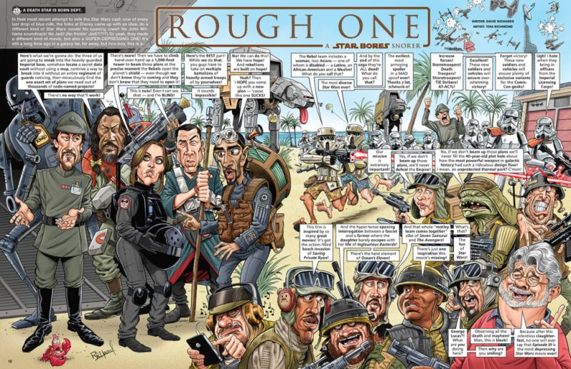 """A spread from Tom's recent Star Wars parody, """"Rough One"""", for MAD Issue 545."""