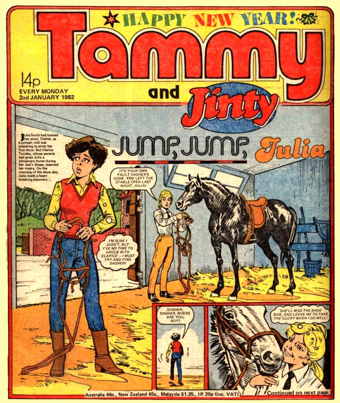 Tammy and Jinty cover dated 2nd January 1982 - art by Giorgio Giorgetti
