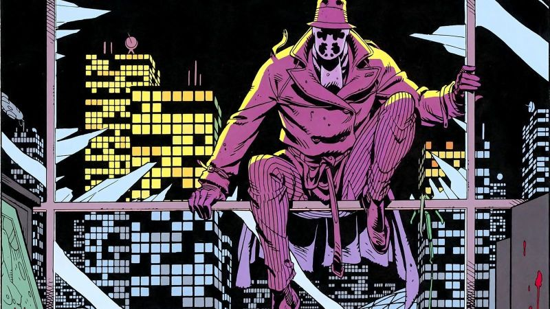 Detail of Rorschach fromWatchmen, art by Dave Gibbons