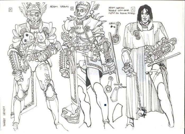 Some of Gary Erskine's original designs for Marvel UK's Warheads title