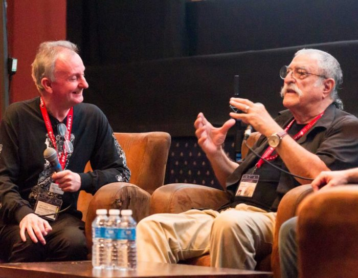 Comics guru John McShane on stage with comics greatness Sergio Aragonés. Photo: Harry Atkindon