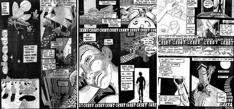"One of Stuart Medley's strips from [sic]BAG Comics - ""Cicada"", published in 1992"