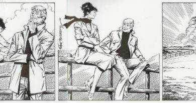 "The art for the final Modesty Blaise daily comic strip, #10183 by Enrique Romero. Unlike the printed version, the original art appears without the word balloons. The gist of the dialogue is that Modesty and Willie plan to unearth a treasure (the one left buried at the end of the book ""A Taste for Death"") and anonymously donate it to the Salvation Army, and to take a break from adventuring. The final exchange at sunset: Modesty says, ""No villains, no victims, no blood sweat and tears... we'll take a little break, Willie love, just you and me."" Willie replies, ""Best bit of all, princess..."""