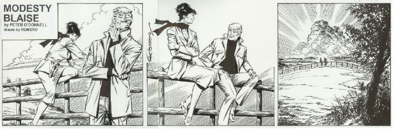 """The art for the final Modesty Blaise daily comic strip, #10183 by Enrique Romero. Unlike the printed version, the original art appears without the word balloons. The gist of the dialogue is that Modesty and Willie plan to unearth a treasure (the one left buried at the end of the book """"A Taste for Death"""") and anonymously donate it to the Salvation Army, and to take a break from adventuring. The final exchange at sunset: Modesty says, """"No villains, no victims, no blood sweat and tears... we'll take a little break, Willie love, just you and me."""" Willie replies, """"Best bit of all, princess..."""""""