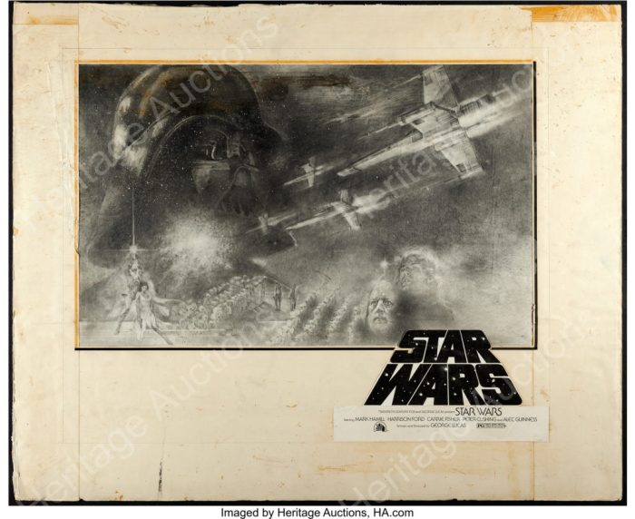 "Star Wars (20th Century Fox, 1977). Tom Jung Half Sheet Concept Artwork (30"" X 24"") and Half Sheet (22"" X 28"")"