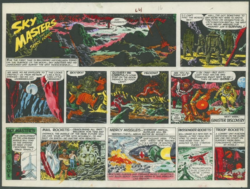Jack Kirby's guide for a horizontal presentation of a Sunday Sky Masters strip