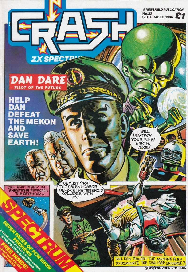 CRASH Issue 32 - Dan Dare cover by Oliver Frey
