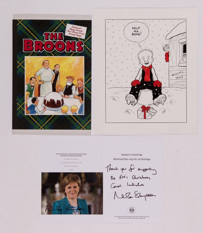 Oor Wullie original artwork for the First Minister of Scotland's Christmas card (2016)