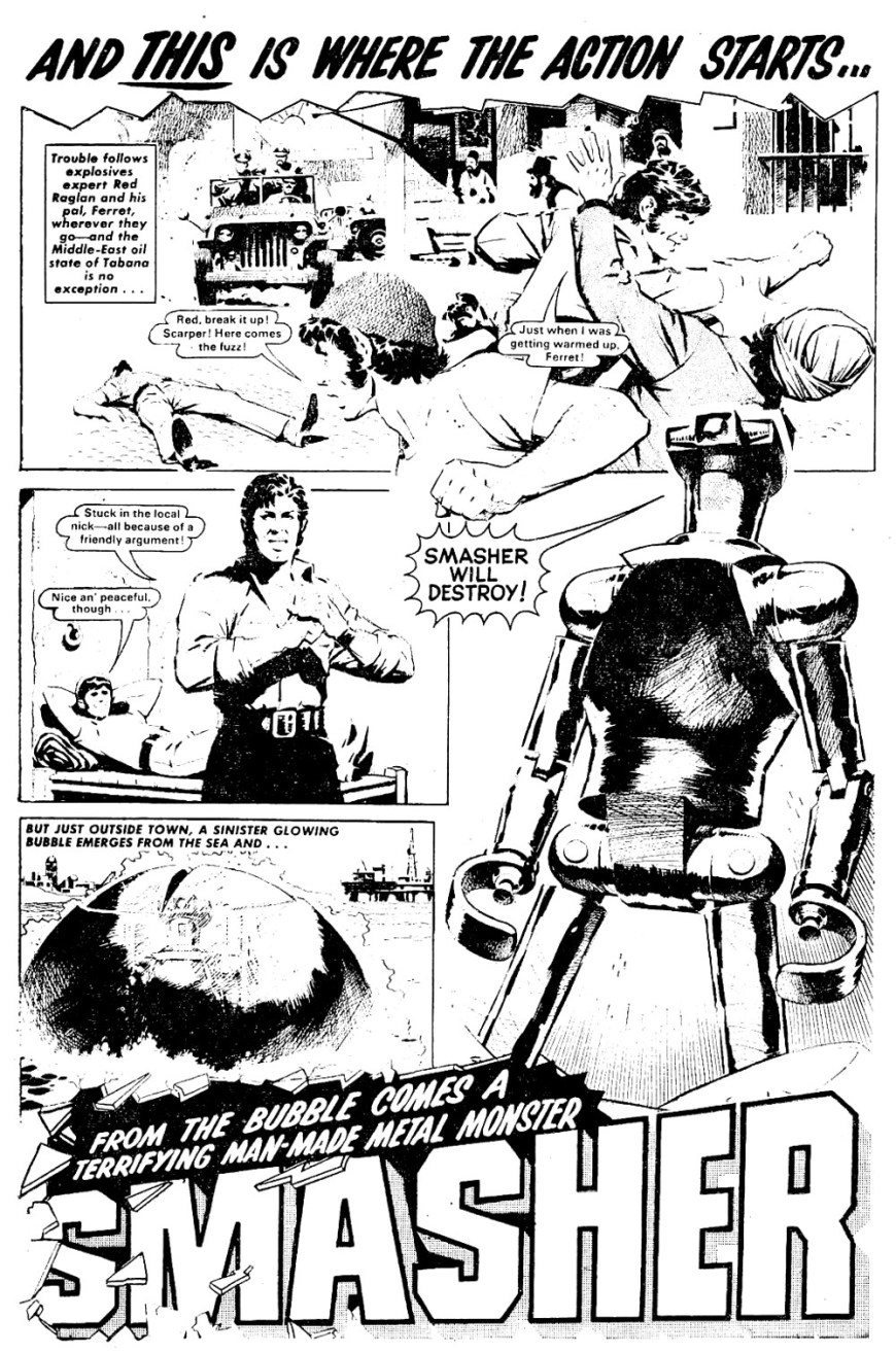 "Art by Ian Kennedy for ""Smasher"", for the first issue of the DC Thomson title Bullet"
