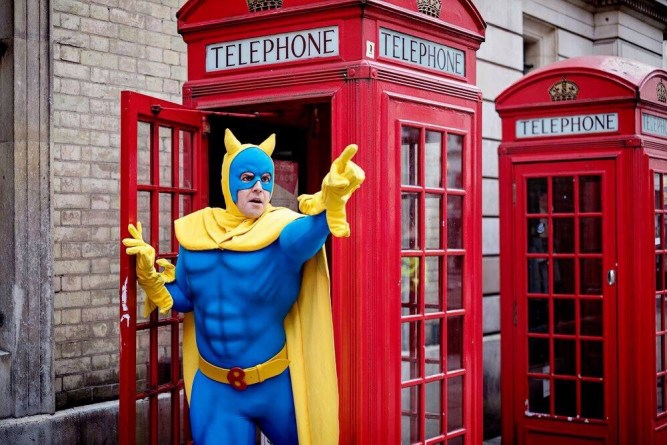 Matthew McKenna as Bananaman. Photo: Claire Bilyard