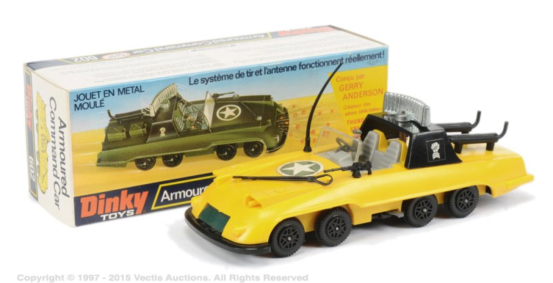 """A Gerry Anderson """"Armoured Command Car prototype toy with French language box from the unrealised Gerry Anderson TV series The Investigator, which was sold at auction in 2016 for £300. Image: Vectis"""