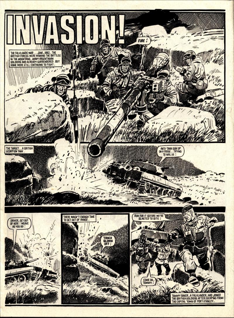 "A page from the Falklands War-inspired story ""Invasion"". published in Battle with Storm Force in August 1987. Story by Story by Terry Magee, art by Jim Watson"
