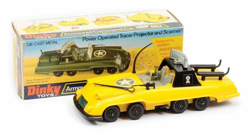 """A Gerry Anderson """"Armoured Command Car"""" prototype toy (with English language box) from the unrealised Gerry Anderson TV series The Investigator. Image: Vectis"""