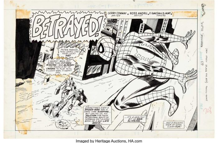 """Dave Hunt and Mike Esposito 's splash page for Super Spider-Man #179, published in 1976. The weekly UK reprint mag needed a new splash page to open the story """"Betrayed!"""" from Amazing Spider-Man #130 and Hunt and Eposito oblige with a great recreation of the original Ross Andru/ Frank Giacoia/ Dave Hunt piece in a horizontal format instead."""
