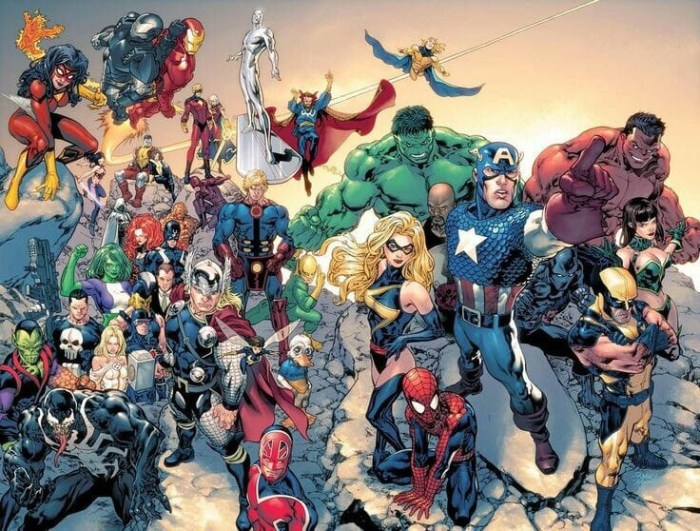 This group shot of Marvel superheroes, including Captain Britain, appeared on the Your Daily Marvel Facebook Page earlier this week. Image: Marvel
