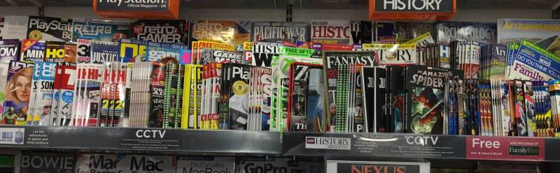 Teen titles in a WHSmith store, 13th February 2018. The eagle-eyed might spot out of date 2000ADs lurking in the photo - two weeks worth of the comic were on display
