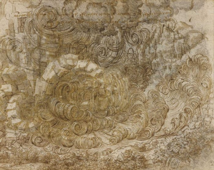 """""""A Deluge"""" c.1517-18, black chalk, pen and ink, wash by Leonardo da Vinci, which will be on display at the National Museum Cardiff"""