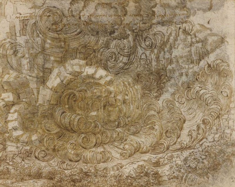 """A Deluge"" c.1517-18, black chalk, pen and ink, wash by Leonardo da Vinci, which will be on display at the National Museum Cardiff"