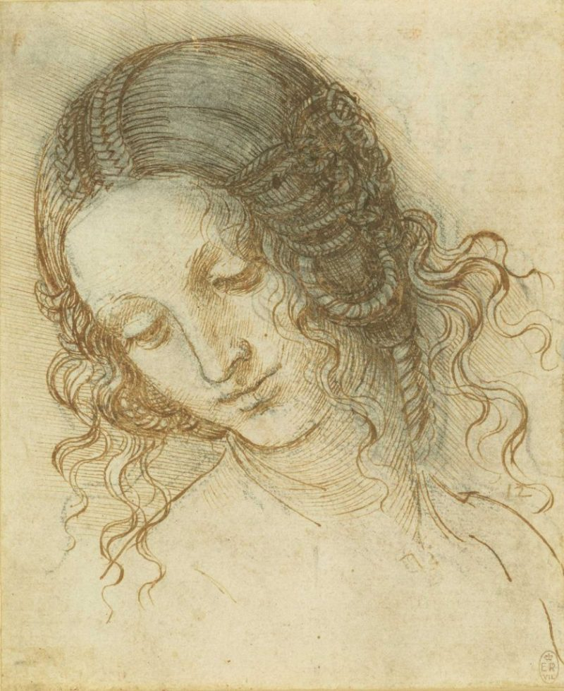The head of Leda, c.1505-8, black chalk, pen and ink by Leonardo da Vinci, to be displayed at the Walker Art Gallery, Liverpool