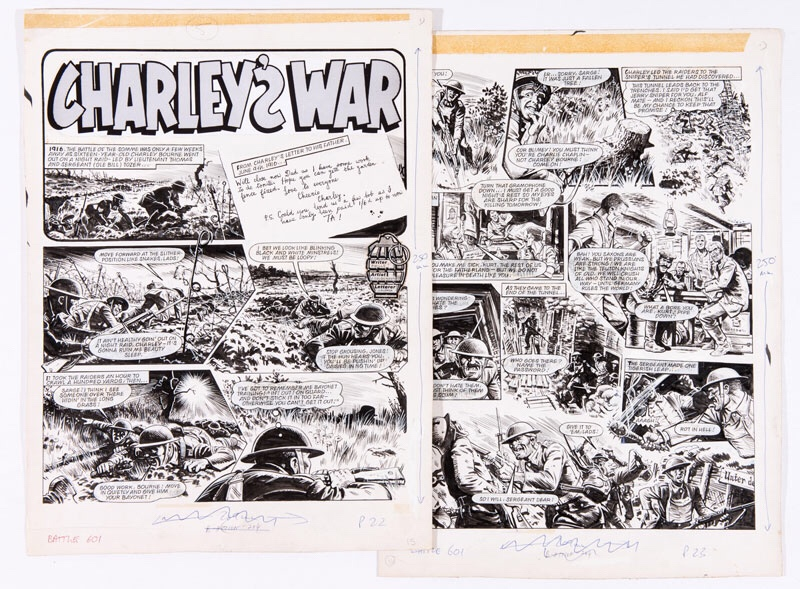 Charley's War - two original artworks by Joe Colquhoun from Battle 601 (1980) '1916.