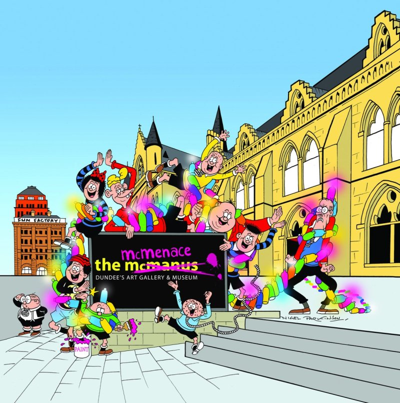 McManus Gallery becomes the McMenace Gallery. Art by Nigel Parkinson
