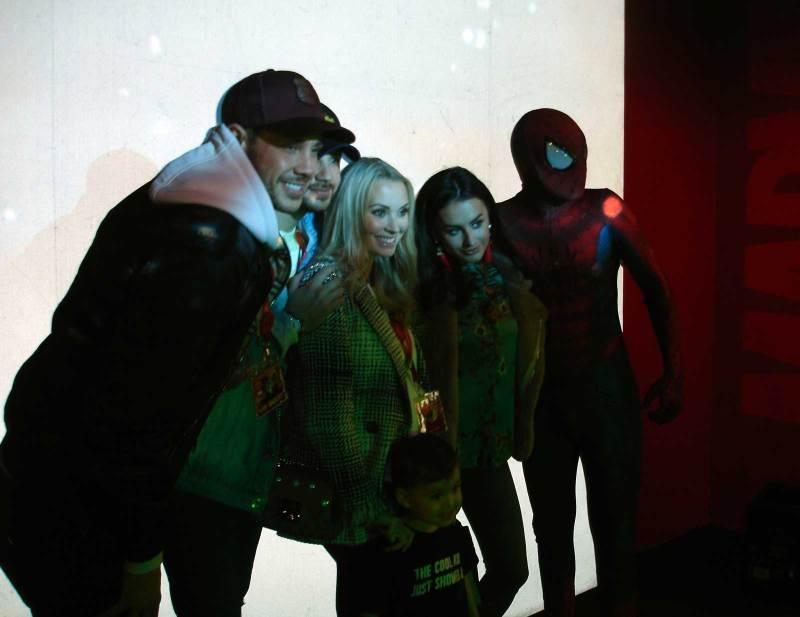 When Marvel Superheroes met Love Island. The opening night of the new Marvel Superheroes exhibit at Madame Tussauds Blackpool. Photo: John Freeman