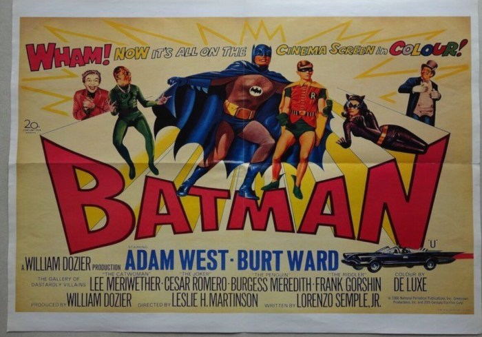 Reproduction Batman (1966) Poster. This is a version that was released as a double-sided poster, with the Psycho film poster on the reverse. Origin unknown