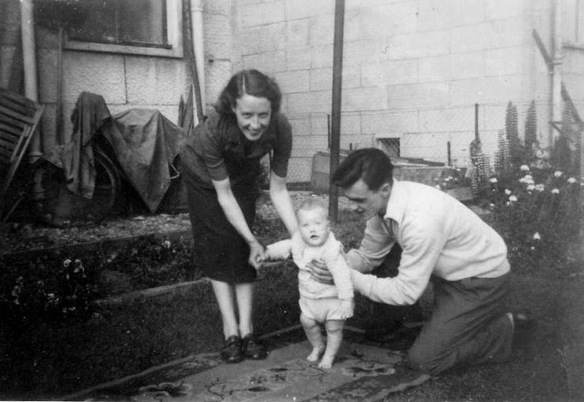 Anne and Willie with Chrys at Chrys' grandparent's house in Kingswell Terrace, Letham, Perth in 1953, Image courtesy Chrys Muirhead