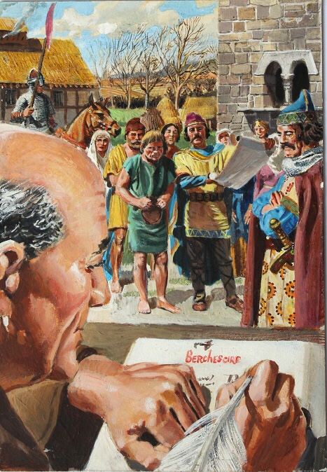 """""""Compiling the Domesday Book"""" - art by Frank Hampson For Kings and Queens of England Book One"""