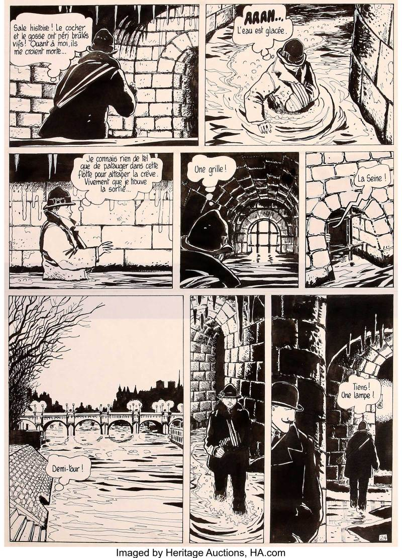 """Jacques Tardi Adèle Blanc-Sec Vol.2 """"The Eiffel Tower Demon"""" Page 24 Original Art (Casterman, 1976). """"The Eiffel Tower Demon"""" is the greatest adventure of Adèle Blanc-Sec. Tardi recreates the evocative locales of Paris, transporting us here into the subterranean worlds beneath the City of Light."""