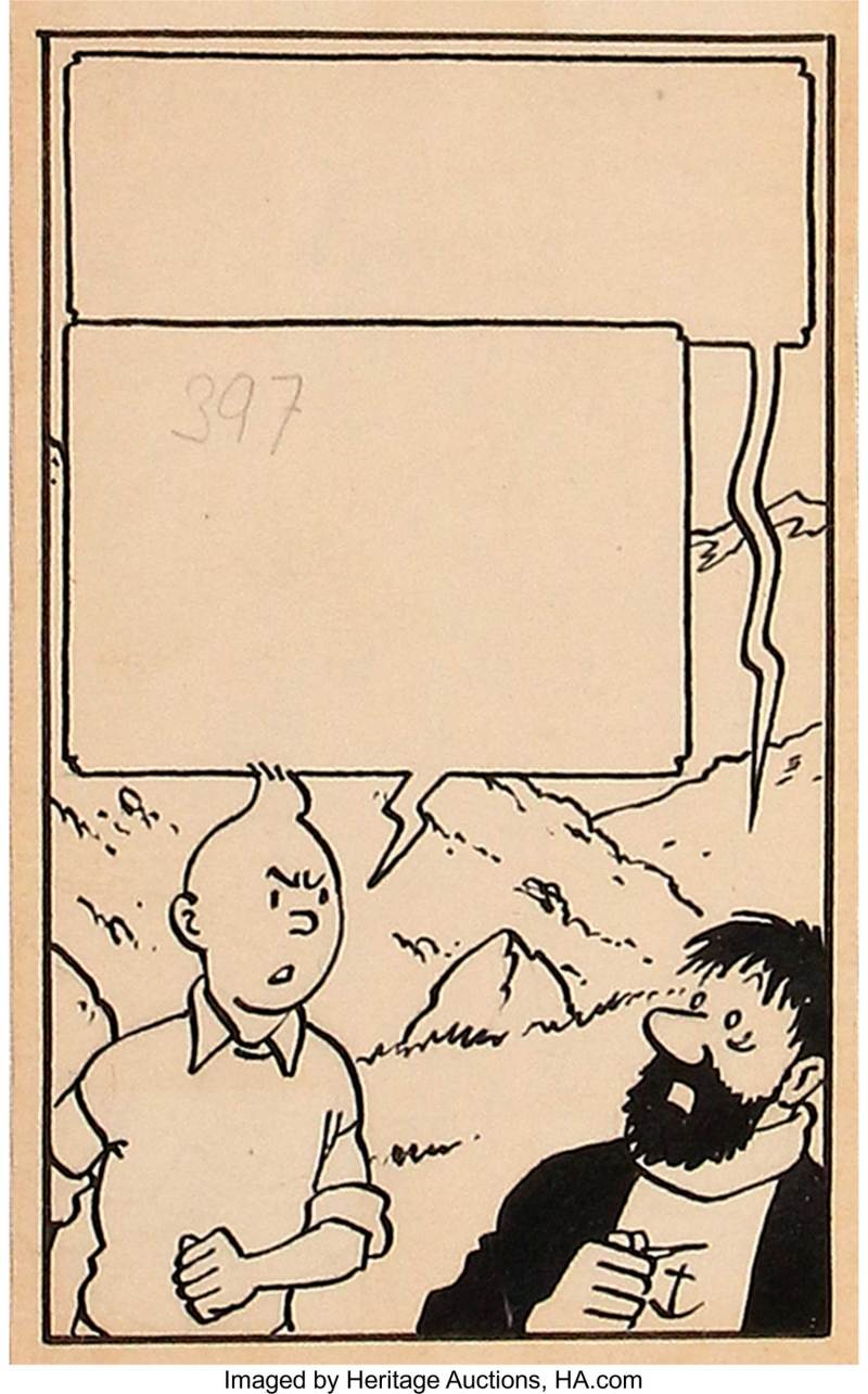 """Hergé (Georges Remi) Tintin: The Temple of the Sun Page 38 Panel 4 Original Art (Journal Tintin, 1947).   When the Journal of Tintinwas launched in 1946, Hergé came up with a landmark story in the chronicles of his famous reporter.   Each page, created in an """"Italian"""" landscape format, unfolds across a double-page spread. A rich reading experience, this approach created a problem when it came to adapting the story for the book edition. Hergé had to reformat certain pages and drop some panels, despite their undeniable quality. As an example, this panel (panel 4 from page 38 - published in Tintin Journal # 24 on June 12th, 1947) features Tintin and Captain Haddock in the heart of the Andes."""