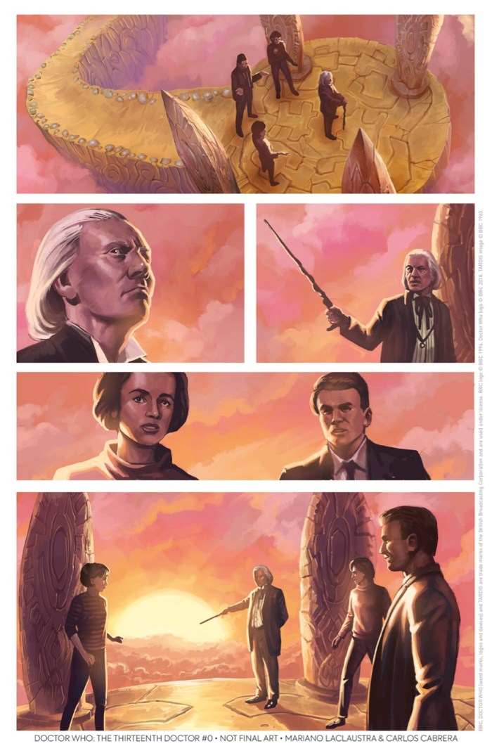 Doctor Who: The Thirteenth Doctor #0 – The Many Lives of Doctor Who Preview Page 1 – The First Doctor by Mariano Laclaustra and Carlos Cabrera