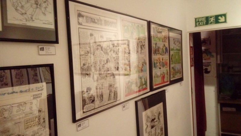 "Treasury of British Comics - Orbital Comics Exhibition June 2018 - ""Billy's Boots"" art"