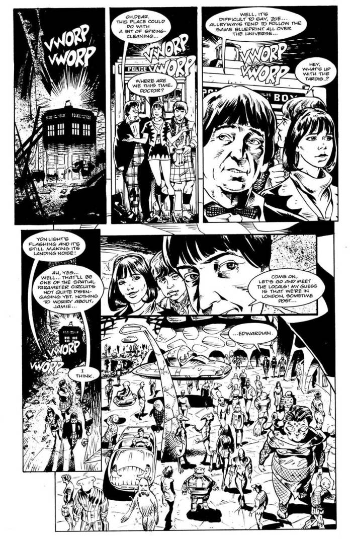 """Land of the Blind"", a Second Doctor story by Scott Gray, drawn by Lee Sullivan"