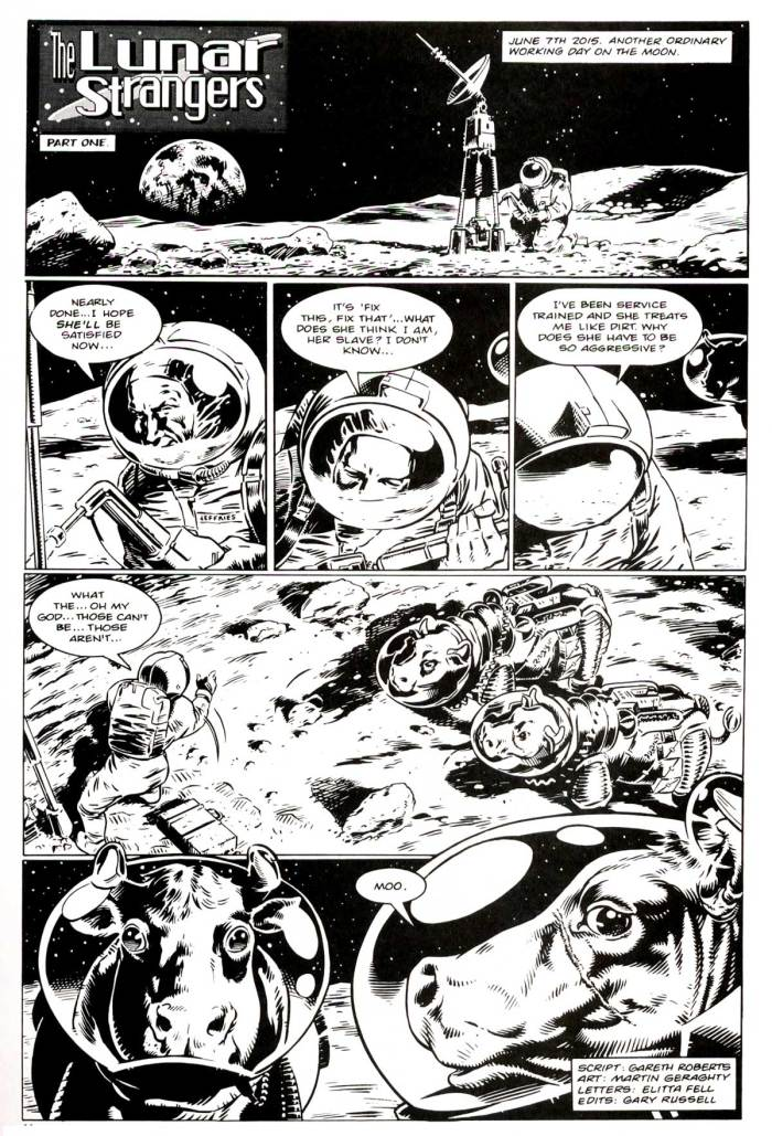 """The Lunar Strangers"", a Fifth Doctor story by Gareth Roberts, drawn by Martin Geraghty"