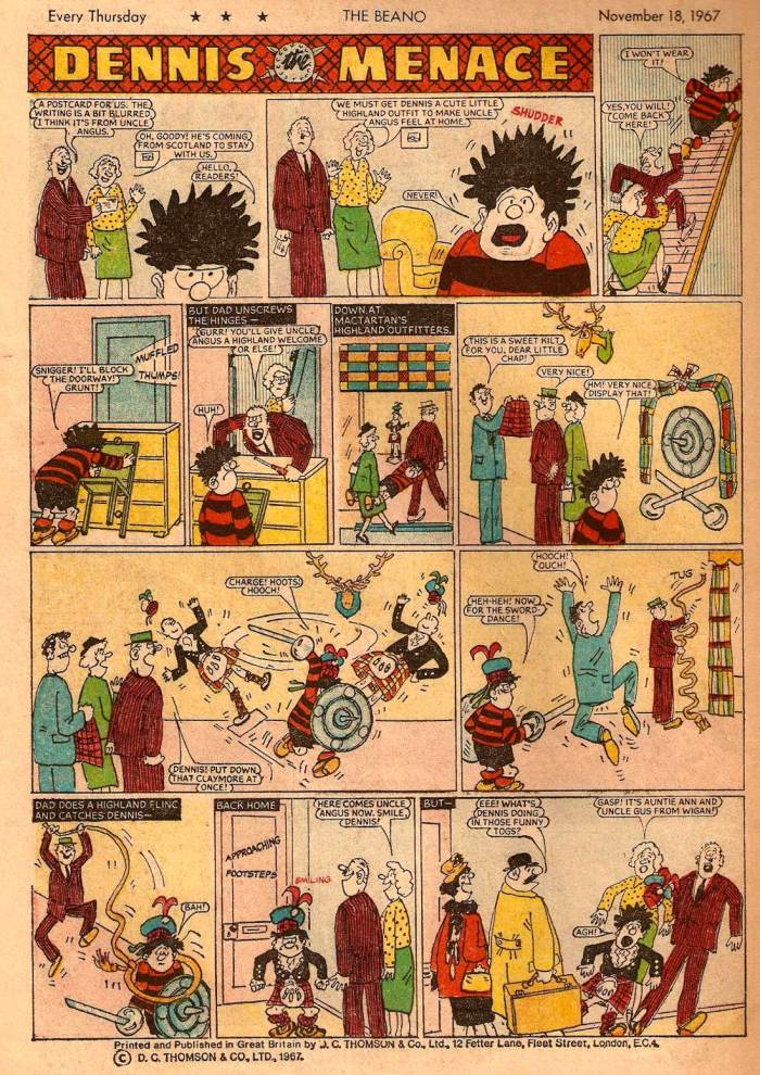 An episode of Dennis the Menace from The Beano cover dated 18th November 1967
