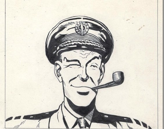 A sketch of Dan Dare by Frank Hampson