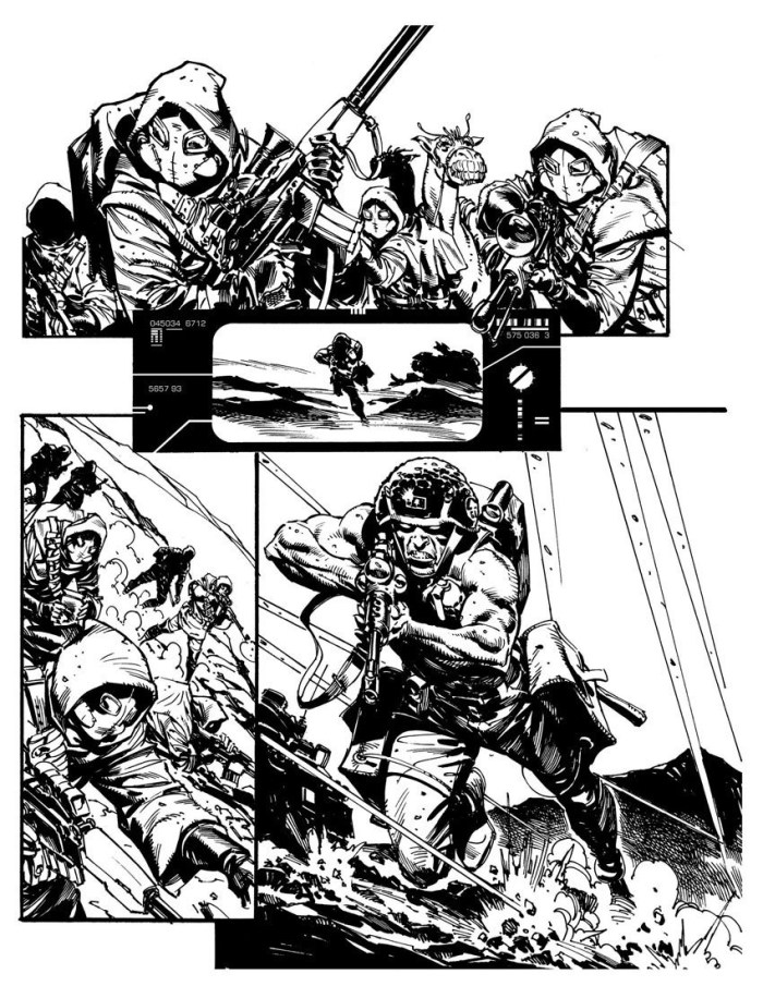 Rogue Trooper by Staz Johnson,. who is clearly ready to fight all comers to storyboard the film...