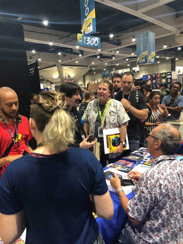 A busy Dave Gibbons signing at San Diego Comic Con 2018