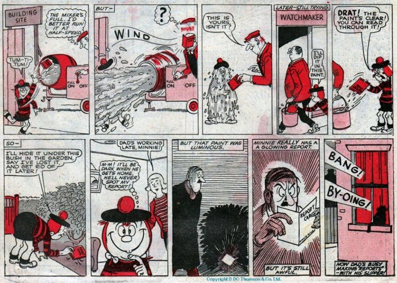 Panels from a classic episode of Minnie the Minx by Leo Baxendale.