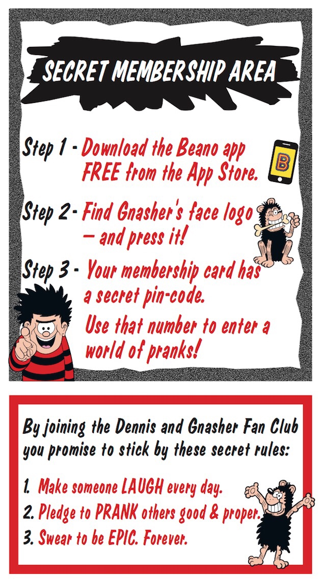 Dennis and Gnasher Fan Club 2018 - Membership Area