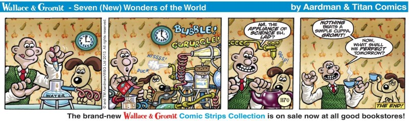 """""""Wallace and Gromit"""", the newspaper strip written by David Leach, drawn by James Hansen, inked by Bambos Georgiou and coloured by John Michael Burns"""