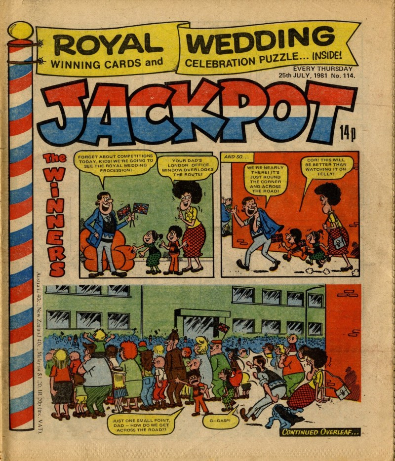 One of Jimmy Hansen's many covers for Jackpot, cover dated 25th July 1981. Via Great News for All Readers