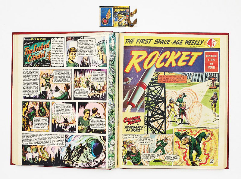 Rocket (1956) 1-32. Complete run in bound volume, with two different style Rocket Space Club Badges (each only available with four tokens and 1/9d Postal Order). Starring Captain Falcon by 'Frank Black' (Basil Blackaller). With Flash Gordon, Johnny Hazard and Brick Bradford UK reprints. Issues 13-27 highlighted the new Forbidden Planet film starring Robbie the Robot, illustrating stills from the movie and offering free cinema tickets to Rocket Club members. Rocket only lasted for these 32 issues before amalgamation with Express Weekly in November 1956