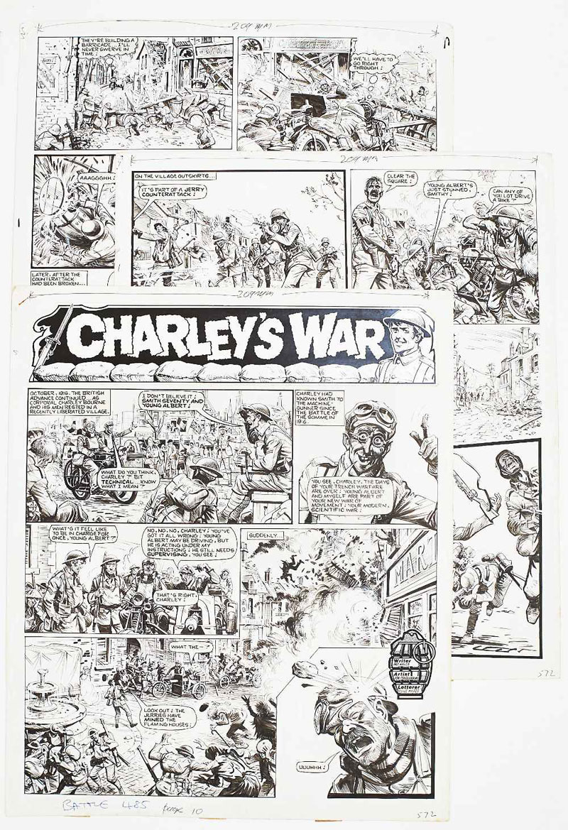 Charley's War three original artworks by Joe Colquhoun from Battle Action Force 485 (1984) pages 10-12. It's October 1918 and the British advance continues. As Corporal Charley Bourne and his men rest in a recently liberated village the Jerries counter attack with devastating force ...